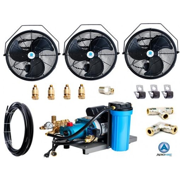18 Quot 3 Fan Kit W 1000 Psi Pump Patio Misting Systems
