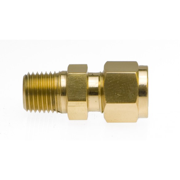 "Brass Male Adapter 1/4"" Tube x 1/8"" NPT"